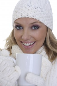 Warm coffee on a cold day